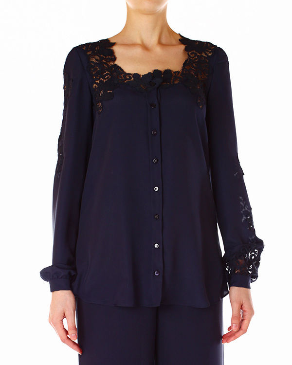 блуза с отделкой из кружева ручной работы артикул D242K306DCD марки ERMANNO SCERVINO купить за 11400 руб.
