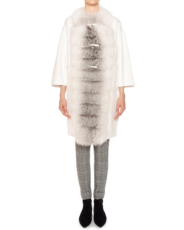 пальто из шерсти, отороченное натуральным мехом артикул D316D303VOSBL марки ERMANNO SCERVINO купить за 213200 руб.