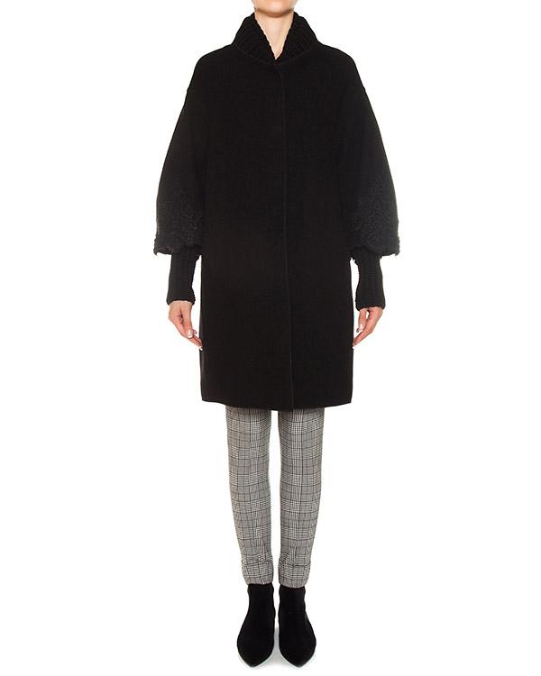 пальто из шерсти черного цвета артикул D316D402OBG марки ERMANNO SCERVINO купить за 102700 руб.
