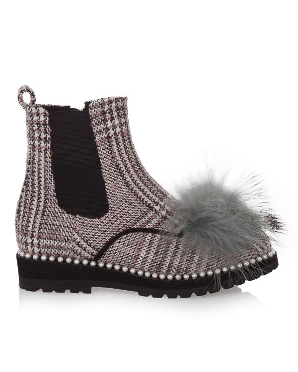ботинки челси из текстиля с отделкой мехом артикул DI3CX17012 марки Suecomma Bonnie купить за 17200 руб.