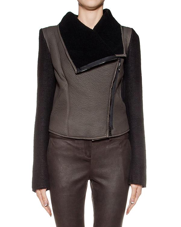 куртка из плотной фактурной кожи, дополнена шерстяными рукавами артикул DL11F16 марки Isabel Benenato купить за 96800 руб.