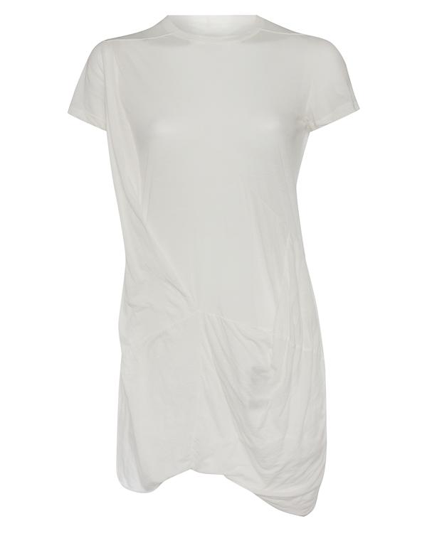 футболка удлиненного силуэта с нестандартной отделкой артикул DS17F2131B марки RICK OWENS DRKSHDW купить за 20400 руб.