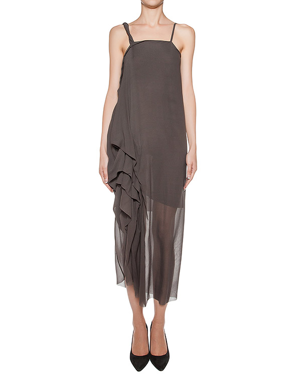 платье из легкого шелка, украшено драпировкой артикул DW74F16 марки Isabel Benenato купить за 49100 руб.