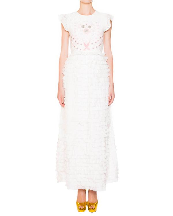 платье из шелка, украшено кружевом, вышивкой и оборками  артикул E5CERO марки Manoush купить за 22600 руб.