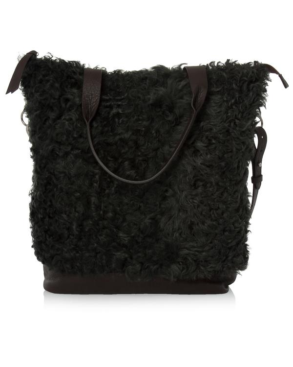 сумка из шагреневой кожи и крашеного меха артикул EMYBAG050086 марки P.A.R.O.S.H. купить за 31700 руб.