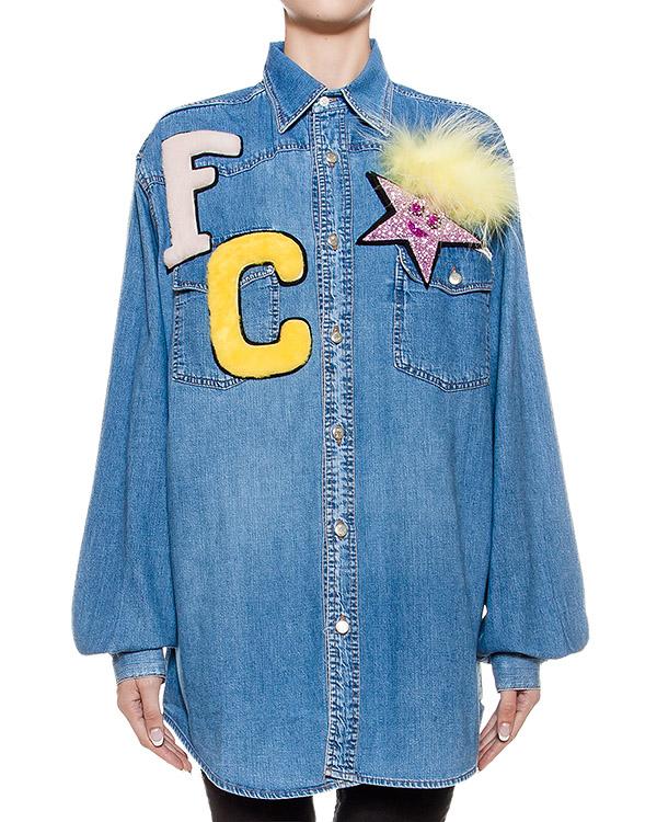 Forte Couture свободного кроя из денима, украшена съемной меховой деталью и нашивками артикул FCFW1622 марки Forte Couture купить за 19200 руб.