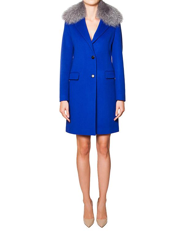 пальто приталенного кроя из шерсти и кашемира насыщенного синего цвета, ворот из натурального меха артикул FRUFRU марки San Andres купить за 25000 руб.