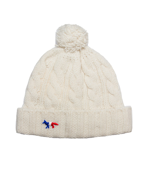 шапка из мягкой шерсти ягнёнка с логотипом бренда артикул FW15U821 марки Maison Kitsune купить за 2100 руб.