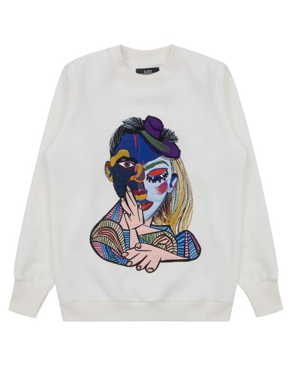 свитшот Picasso из хлопка с авангардным принтом артикул FW17274picasso марки KATЯ DOBRЯKOVA купить за 7500 руб.