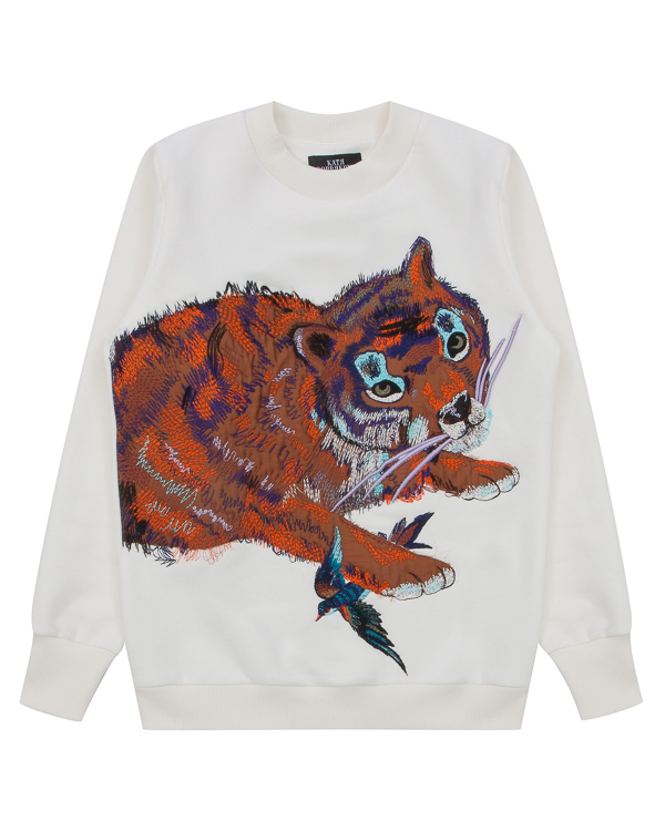 KATЯ DOBRЯKOVA Tiger из трикотажного хлопка с вышивкой артикул FW17274tiger марки KATЯ DOBRЯKOVA купить за 5800 руб.