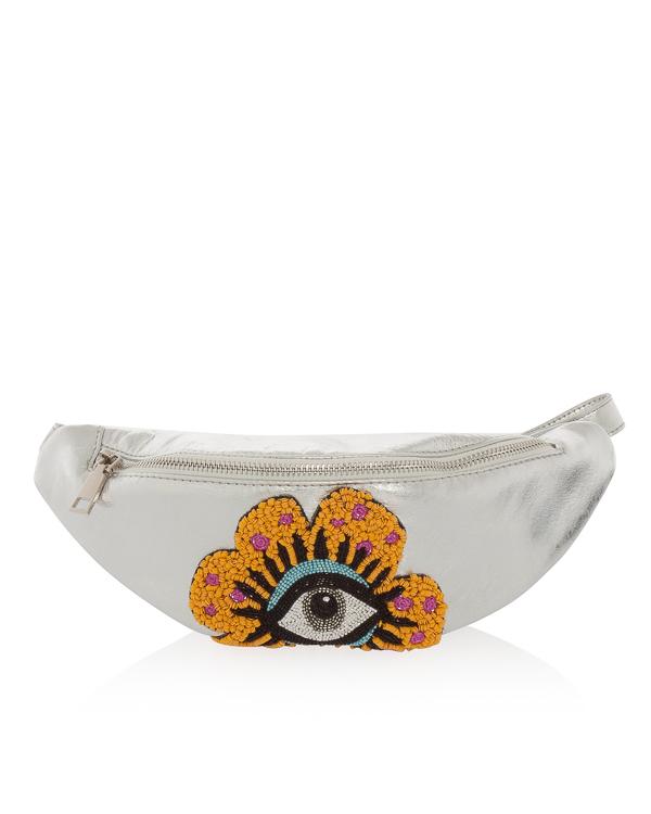 сумка на пояс из серебристой кожи  артикул FW18102 марки KATЯ DOBRЯKOVA купить за 12700 руб.