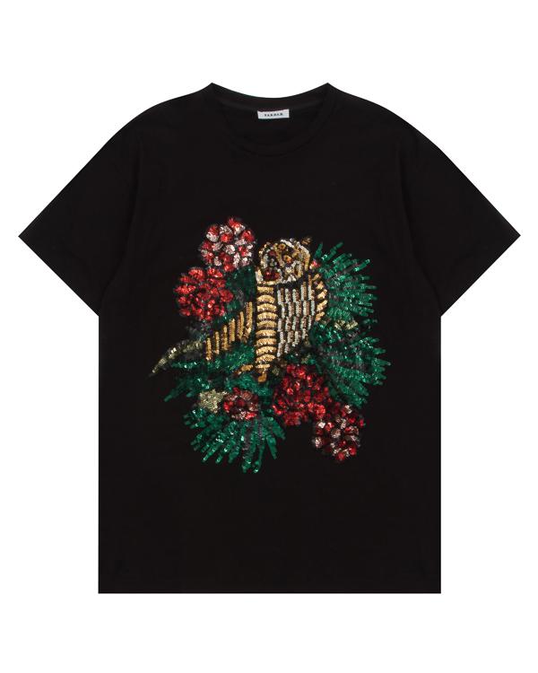 футболка из хлопка с принтом из пайеток артикул GARDEEP110585 марки P.A.R.O.S.H. купить за 8500 руб.