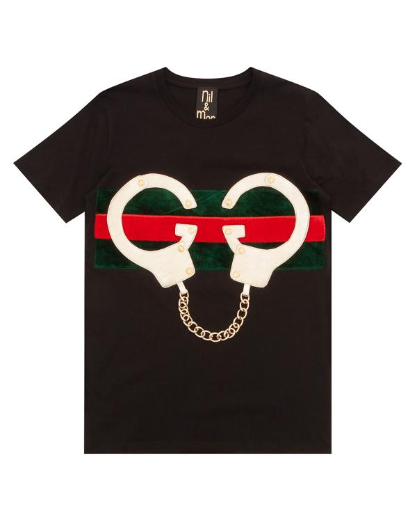 футболка из хлопка с аппликацией и цепочкой артикул GOLDEN-HANDCUFFS марки NIL & MON купить за 9900 руб.