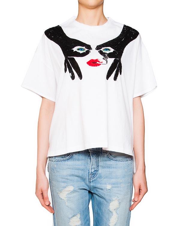футболка из мягкого хлопка декорирована узором из пайеток артикул GUEUX310619 марки P.A.R.O.S.H. купить за 12200 руб.