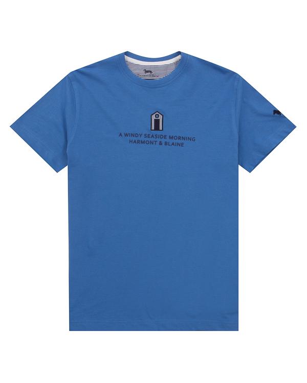 футболка из хлопка с принтом  артикул HBI00250 марки Harmont & Blaine купить за 7500 руб.
