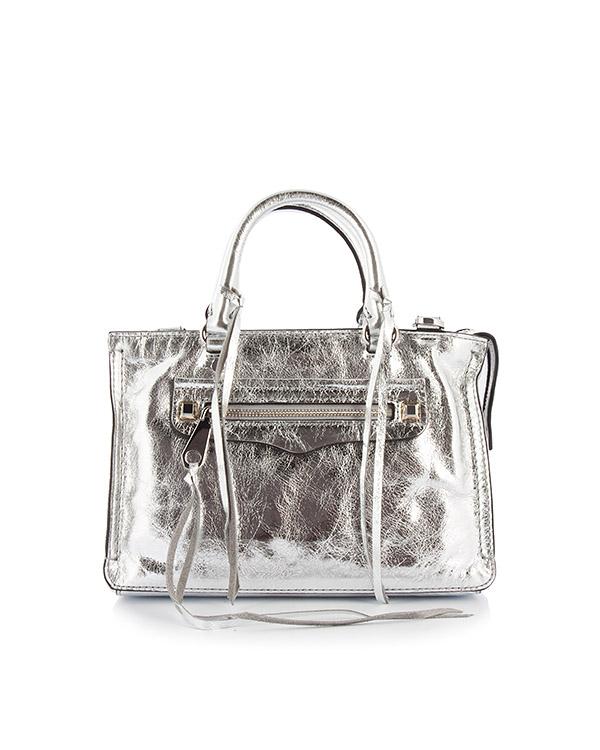сумка Micro Regan Satchel из серебристой кожи артикул HU17EDSX61 марки Rebecca Minkoff купить за 14800 руб.