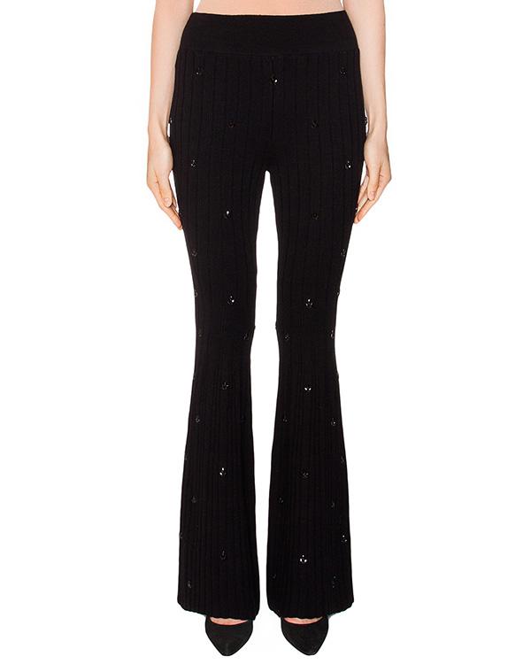 брюки расклешенного кроя из трикотажа, декорированы кристаллами артикул KP0370503 марки Graviteight купить за 22500 руб.