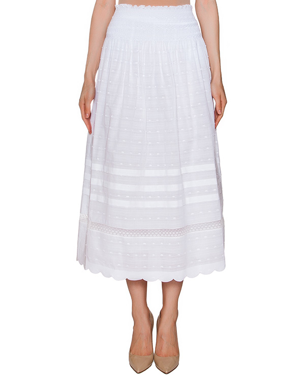 юбка из хлопка с вышившкой артикул KR0RA135 марки Valentino Red купить за 14300 руб.