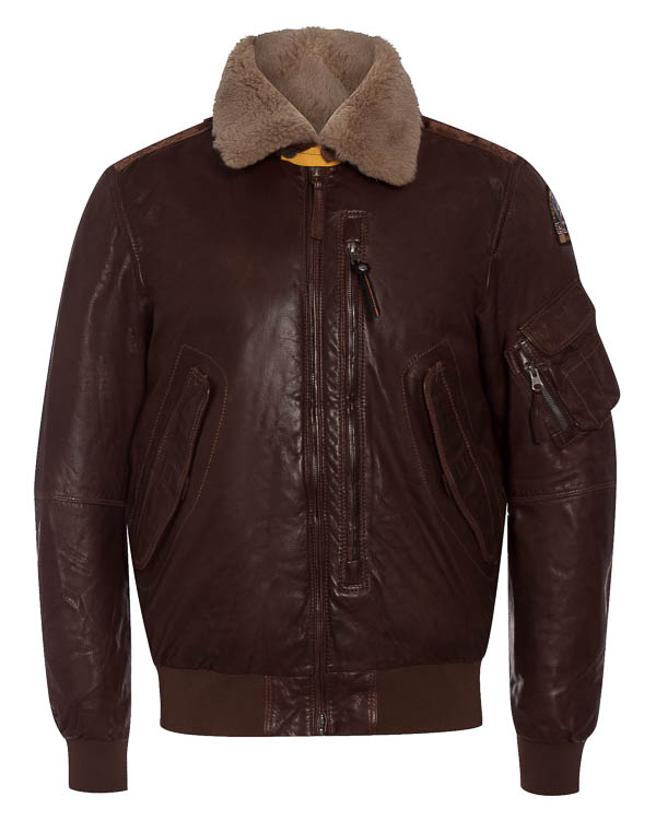 куртка бомбер из кожи с отделкой мехом артикул LE01 марки Parajumpers купить за 67100 руб.