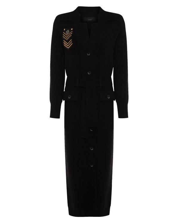пальто из вязаной шерсти с отделкой аппликацией артикул LE0325R45 марки L'Edition купить за 27800 руб.