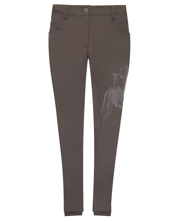 брюки из хлопка и шерсти с вышивкой  артикул LE0361R3 марки L'Edition купить за 9900 руб.