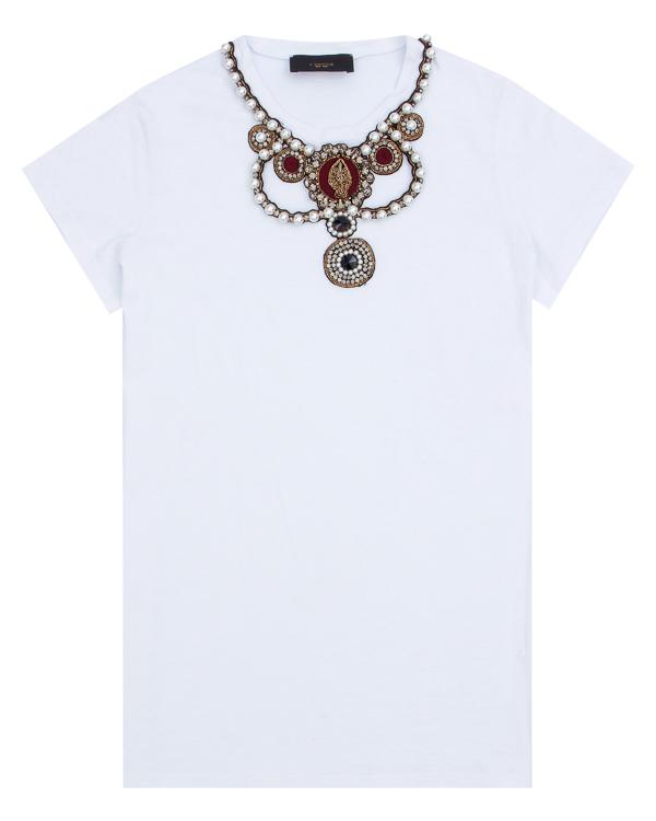 футболка прямого силуэта, декорированная жемчугом, кристаллами и бисером артикул LE0379R4 марки L'Edition купить за 13600 руб.