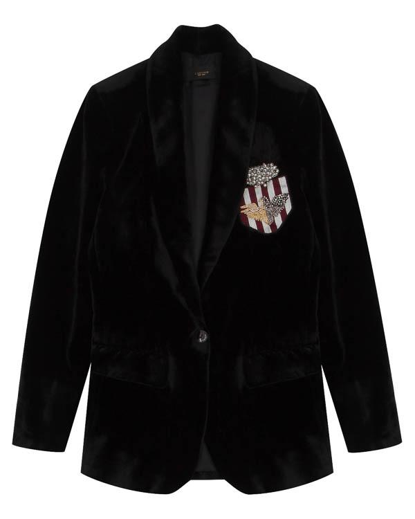 пиджак из велюра с аппликацией артикул LE0386R12 марки L'Edition купить за 30700 руб.
