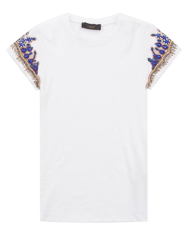 футболка из хлопка с расшитыми рукавами  артикул LE0539 марки L'Edition купить за 22900 руб.