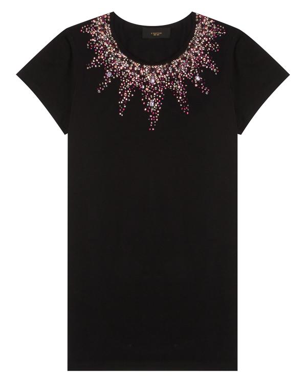 футболка из хлопка с отделкой кристаллами и бусинами  артикул LE0720/CR17 марки L'Edition купить за 7900 руб.
