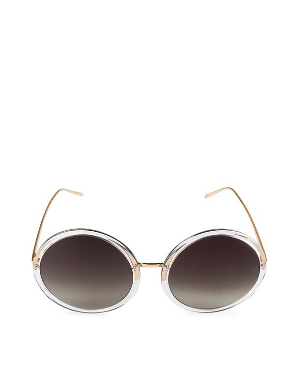 очки из титана с покрытием из желтого золота артикул LFL457C3SUN марки Linda Farrow купить за 38100 руб.