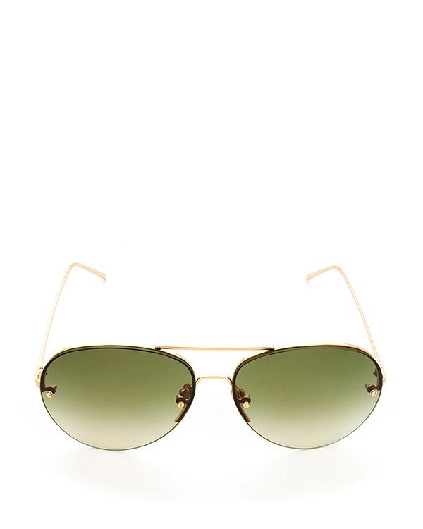 очки из титана с покрытием из желтого золота артикул LFL574C8SUN марки Linda Farrow купить за 47100 руб.