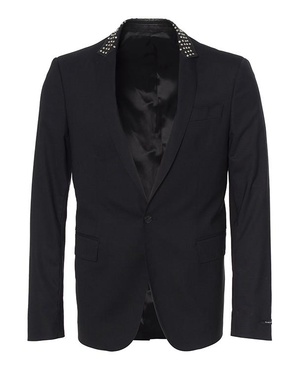 пиджак из шерсти, дополнен кожаным воротником с шипами артикул LHB330W марки Les Hommes купить за 46500 руб.