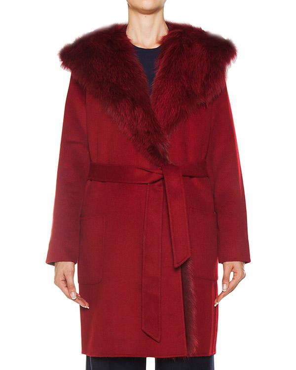 пальто из шерсти, отороченное натуральным мехом  артикул LOVERYX430546P марки P.A.R.O.S.H. купить за 53200 руб.