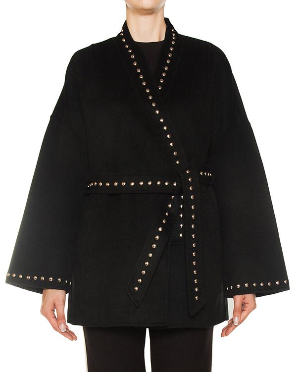 пальто из плотной шерсти с металлическими клепками артикул LOVERYX430604B марки P.A.R.O.S.H. купить за 34400 руб.