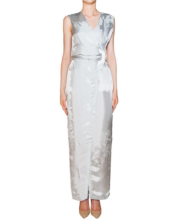платье из струящегося шелка с узором, дополнено высоким разрезом артикул M034 марки GRINKO купить за 26900 руб.