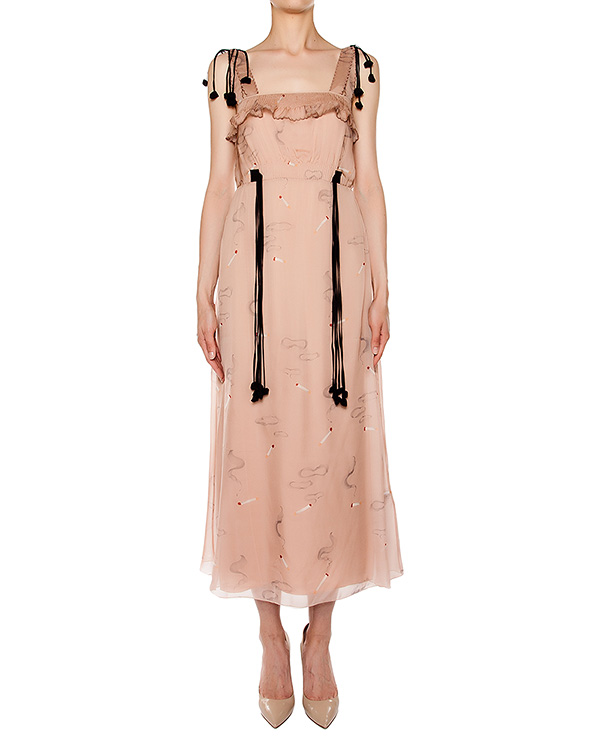 платье приталенного кроя из легкого шелка, дополнен оборками и завязками артикул M2S0H123 марки № 21 купить за 58300 руб.