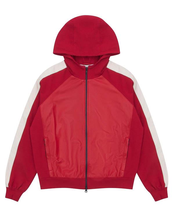 куртка -олимпийка из кожи с капюшоном артикул MARTIN430610 марки P.A.R.O.S.H. купить за 34900 руб.