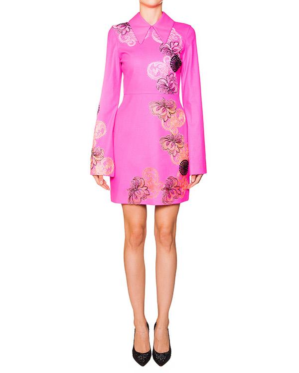 платье приталенного кроя из шерстяной ткани с фактурной вышивкой артикул MDA117 марки MSGM купить за 20800 руб.