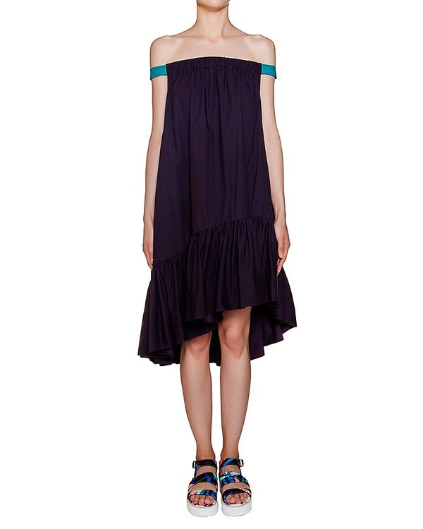 платье свободного асимметричного кроя из легкого хлопка с яркими лентами артикул MDA141Y марки MSGM купить за 17800 руб.