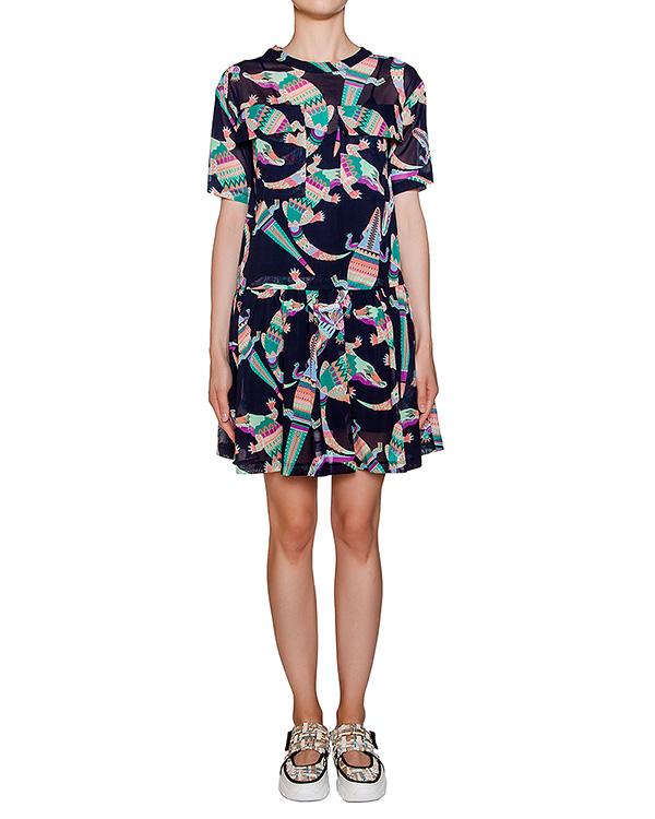 платье из легкого тонкого хлопка с ярким рисунком артикул MDA229 марки MSGM купить за 18400 руб.