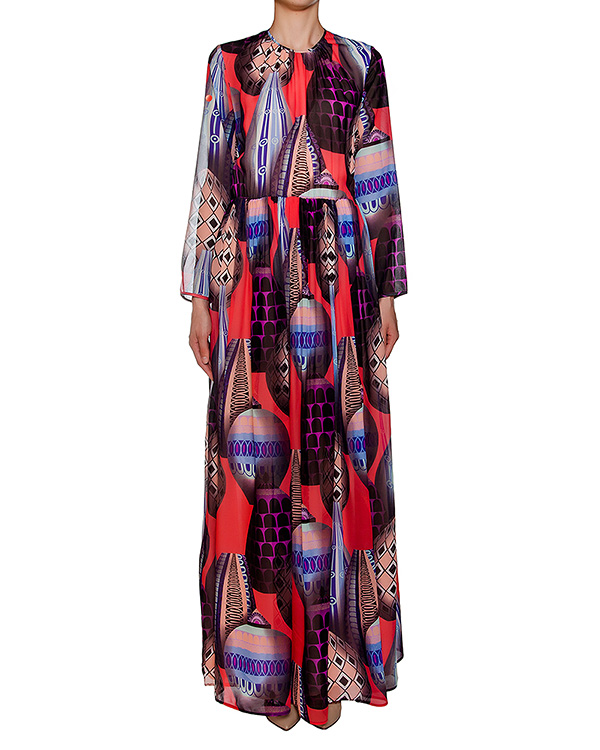 платье в пол из легкого шелка с ярким рисунком артикул MDA255 марки MSGM купить за 31300 руб.