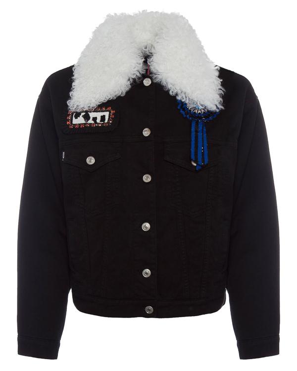 куртка джинсовка с меховым воротником артикул MDH61L марки MSGM купить за 41700 руб.