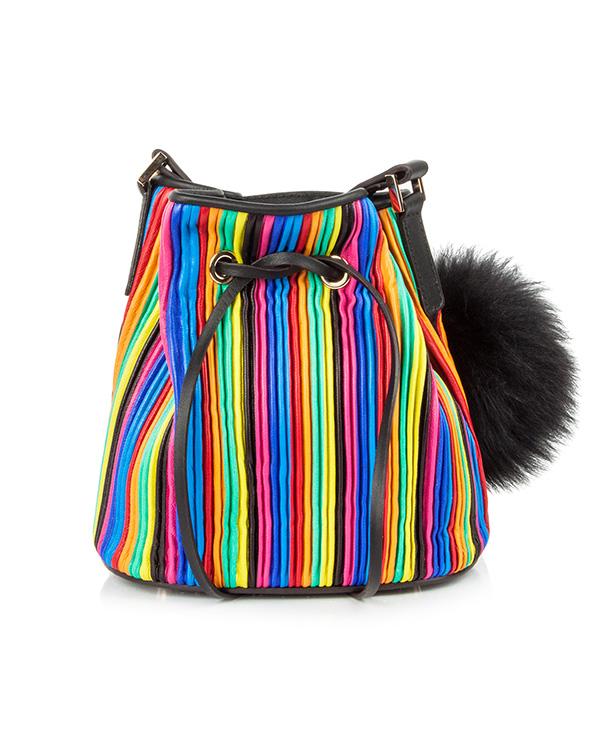 сумка из натуральной кожи, дополнена меховым помпоном артикул MDL-TPM марки Les petits joueurs купить за 24500 руб.