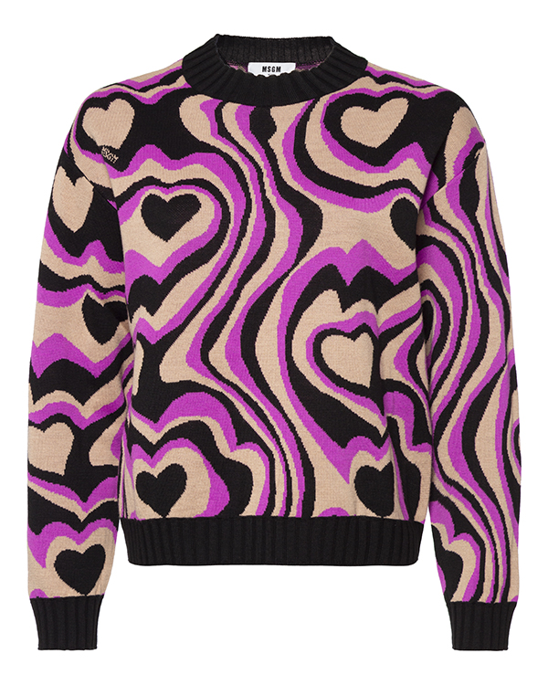 свитер MSGM MDM126 xs черный+бежевый+фиолетовый