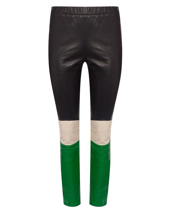 брюки из кожи в стиле color block артикул MOTORCYC230596 марки P.A.R.O.S.H. купить за 26500 руб.