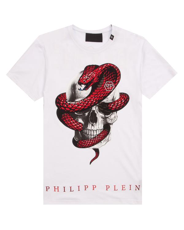 PHILIPP PLEIN из хлопка с принтом и мелкими кристаллами артикул MTK1820 марки PHILIPP PLEIN купить за 49600 руб.