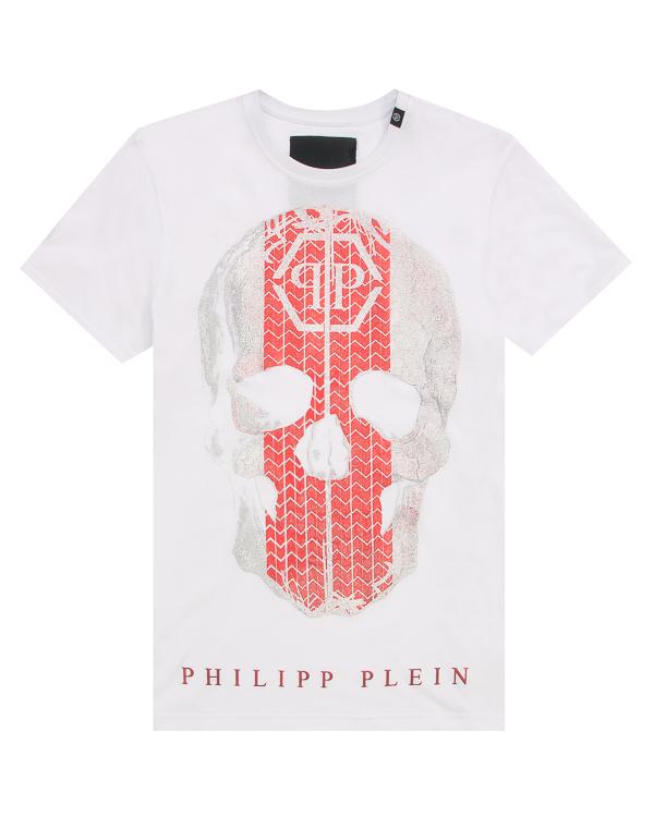 PHILIPP PLEIN прямого силуэта с принтом артикул MTK2154 марки PHILIPP PLEIN купить за 35200 руб.