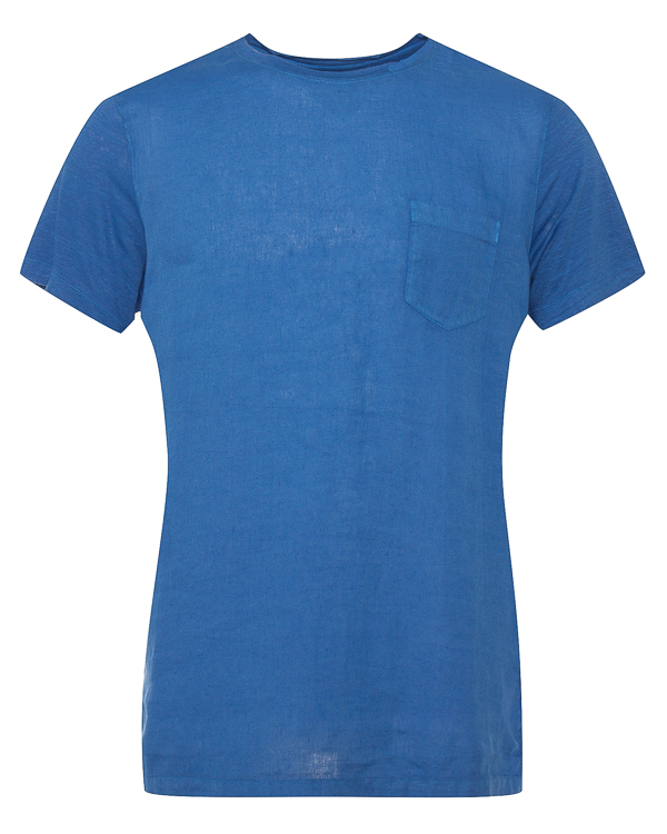 футболка из льна с нагрудным карманом  артикул N0M7360-E908301 марки 120% lino купить за 9500 руб.