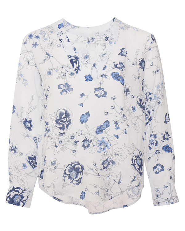 блуза из льна с цветочным принтом  артикул N0W1357 марки 120% lino купить за 6800 руб.