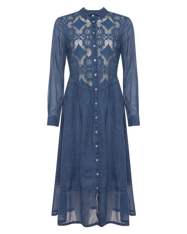 платье миди из хлопка с отделкой льном  артикул N1W4998 марки 120% lino купить за 22900 руб.